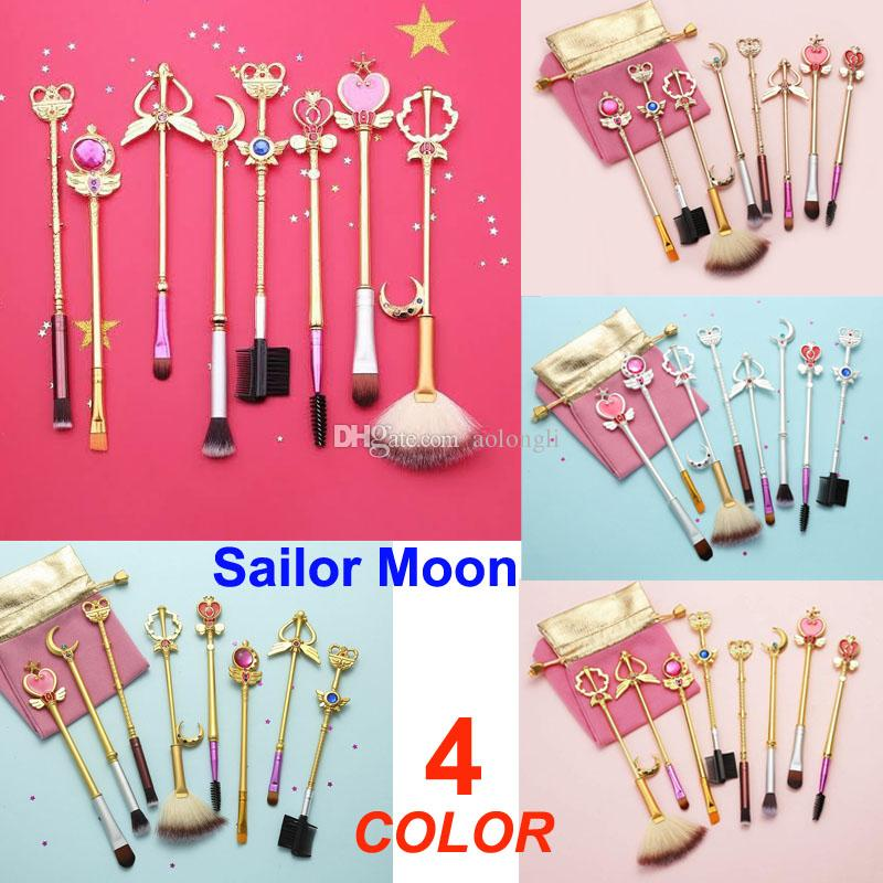 8pcs Pennelli Sailor Moon Pennello Trucco carino Pennelli cosmetici Sakura con borsa rosa Ombretto Kit pennello lucido