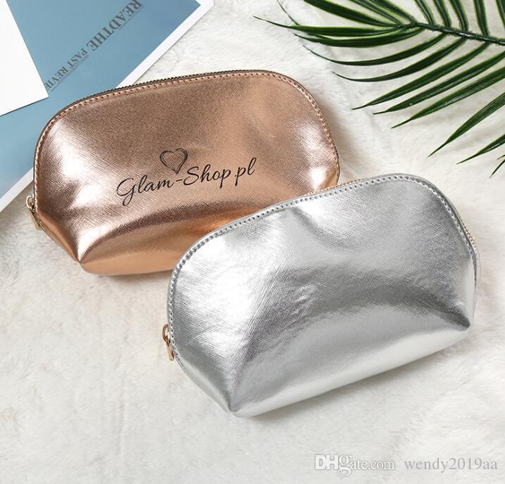 PU Donne Cosmetic Bag DHL50pcs solido di alta capacità a forma di conchiglia Zipper Wash Bag nastro dell'oro