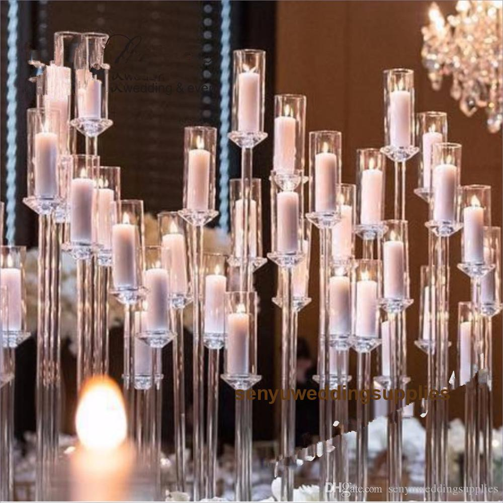 no acrylic cup including )Acrylic Candlestick crystal acrylic Candle Holders Wedding Candelabra Table Centerpieces Flower Stand senyu0634