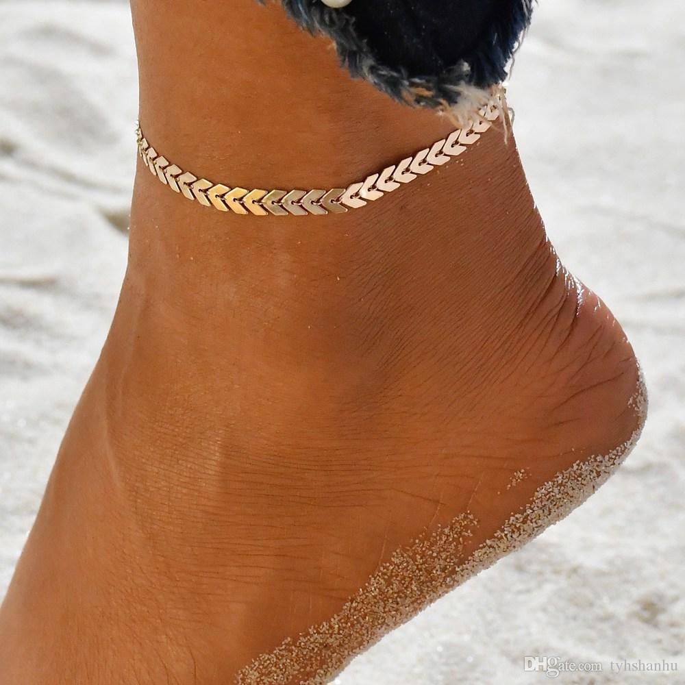 여성 간단한 펑크 골드 실버 체인 플랫 뱀 발목 팔찌 맨발로 샌들 비치 발 보석 BB383