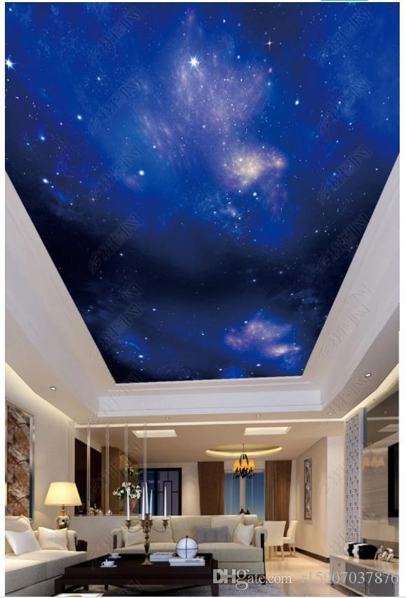 Индивидуальные большие 3D фото обои 3D потолочные фрески обои красивые звездное небо фэнтези Зенит фреска стикер стены papel де parede