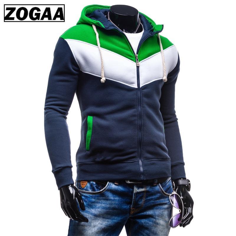 ZOGAA 2020 Hombres sudadera con capucha color del bloque h casual sudaderas con capucha de la cremallera chaquetas con capucha de los hombres delgado deporte Harajuku Outwear