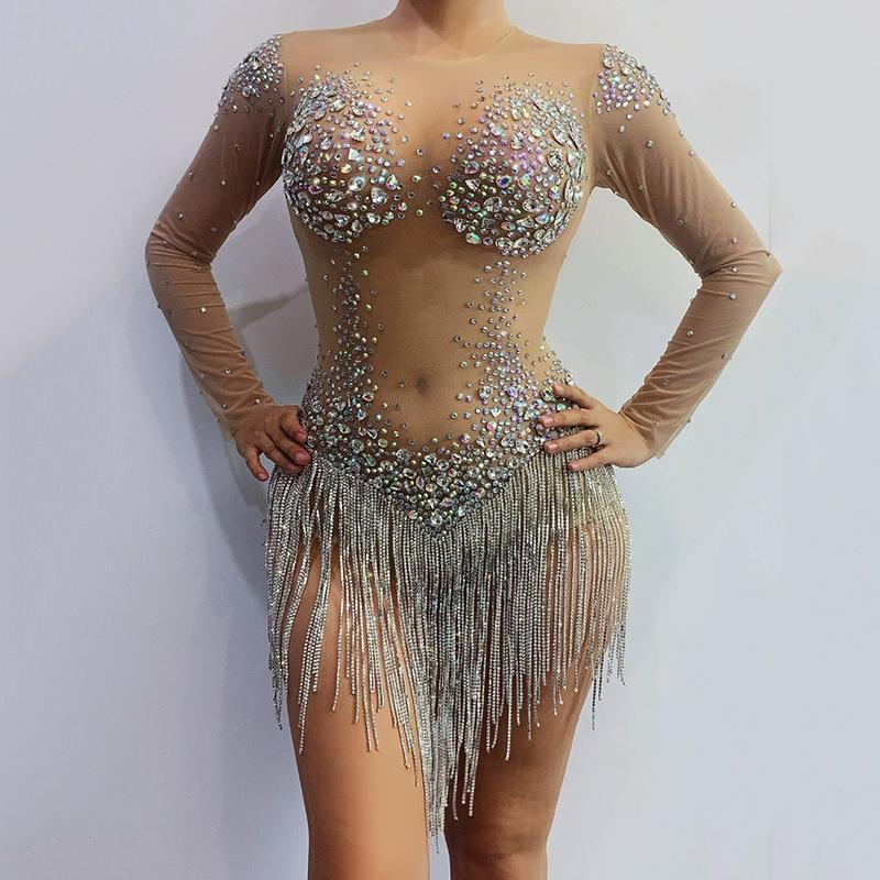 Sparkly multicolore Strass Fringe trasparente Body Danza Compleanno Festeggia maniche lunghe Donne Singer Outfit DWY3252
