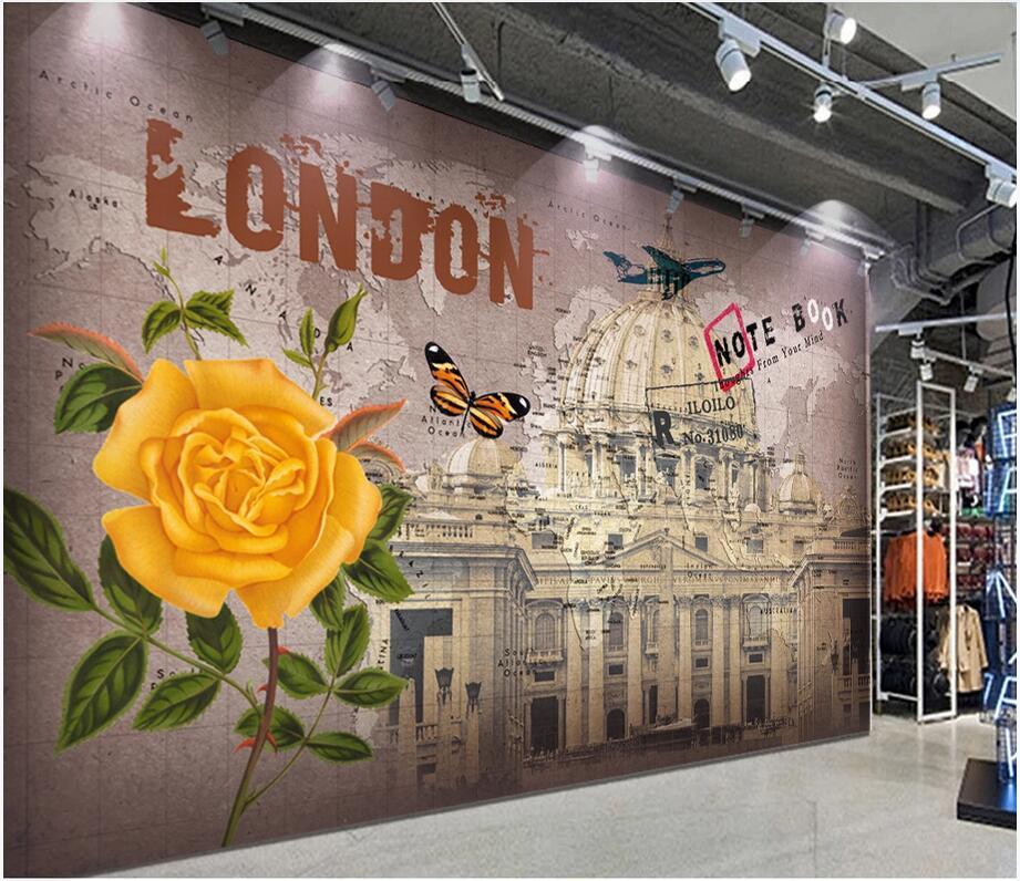 photo personnalisé 3d fond d'écran mural rétro nostalgique image européenne et le mur décoration murale fond peinture à l'huile américaine autocollants 3d