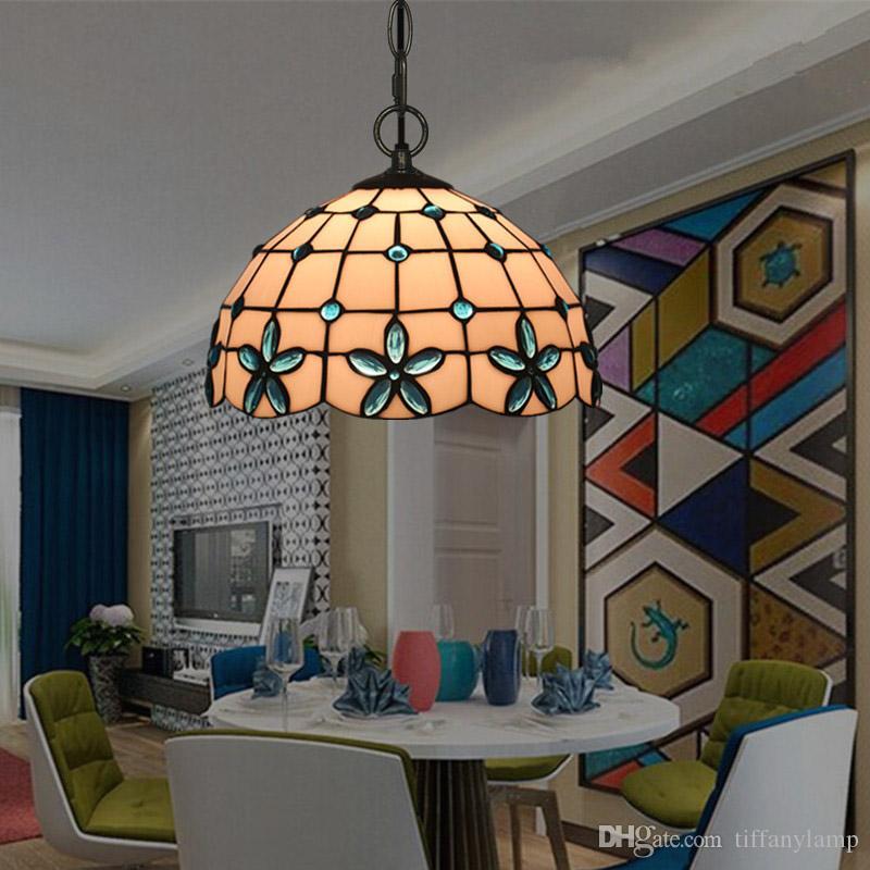 12 polegadas Simples Tiffany Luz Mediterrâneo Luminárias criativa Candelabro Lâmpadas Glass Theme Restaurante Café Bar Lampara Colgante