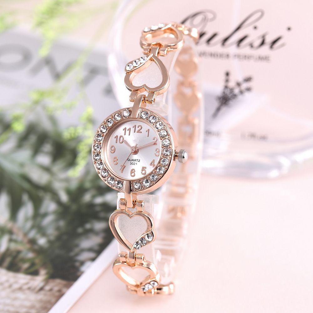 Женщины Горячий сплав браслет часы женщины костюм персик струны сердца кварцевые часы 2019 горячие подарки