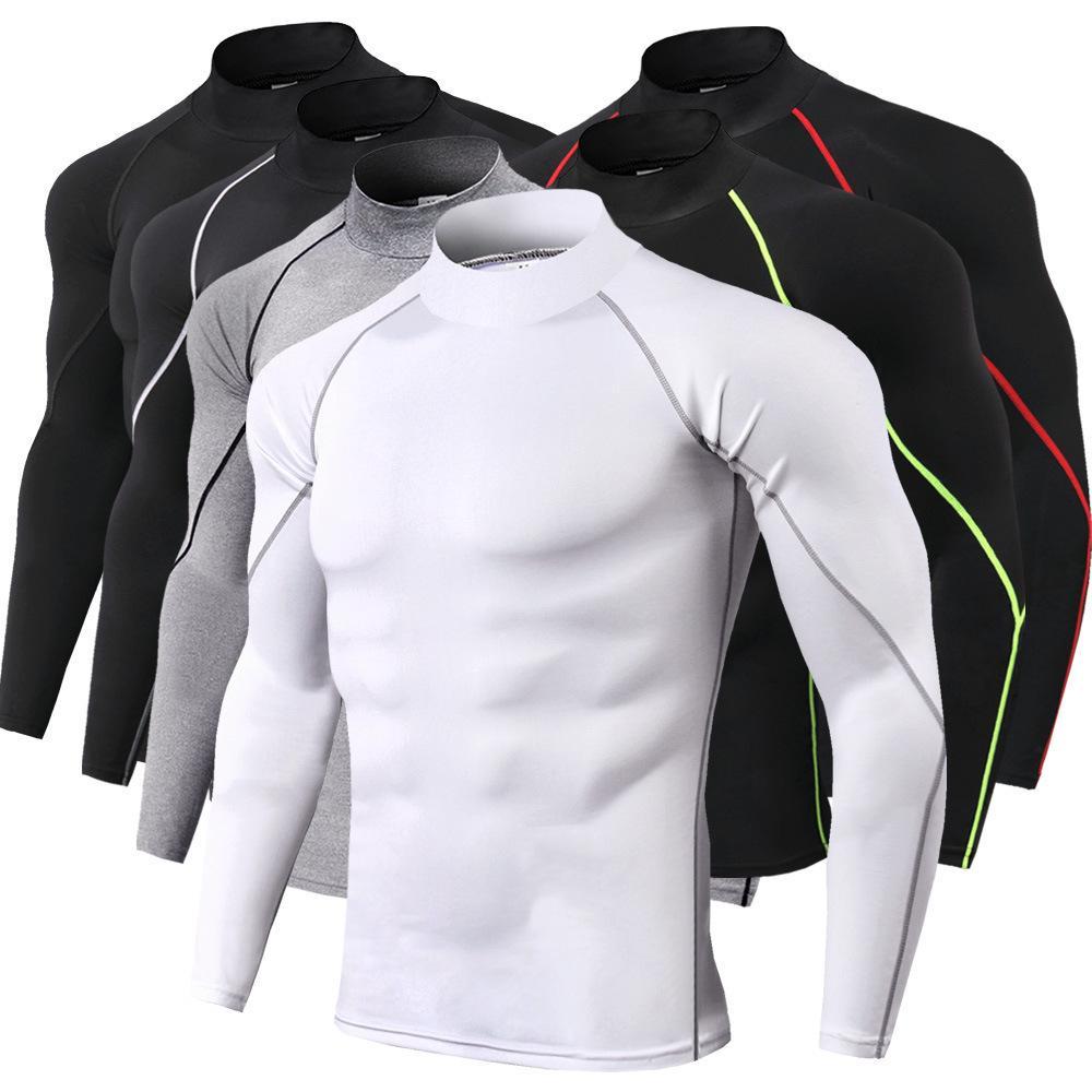 Esecuzione Sport Shirt intima termica Mens lungo autunno-inverno dolcevita Top completo di formazione T-shirt da uomo di spessore caldo