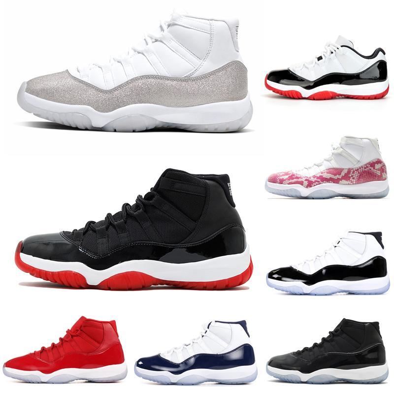 белый разводят 11 мужчин баскетбольная обувь 11s Конкорд шапка и платье металлик серебро женщины мужские тренеры спортивные кроссовки бесплатная доставка