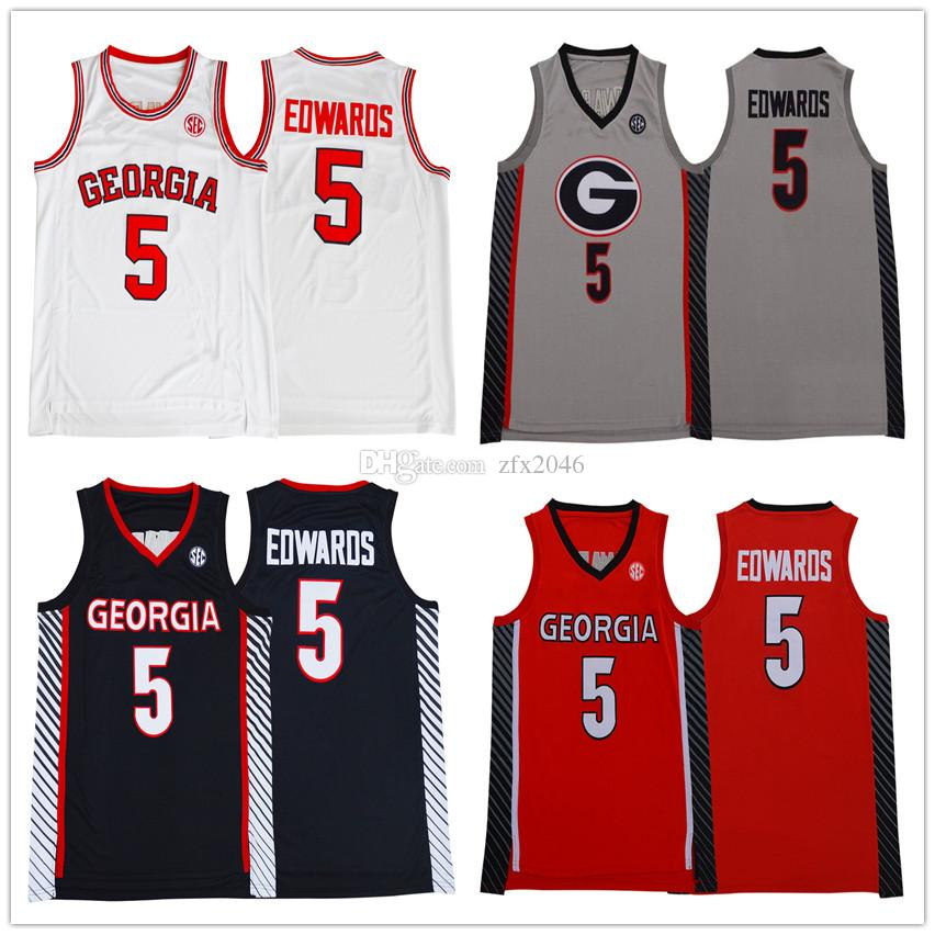 NCAA Мужская 5 Энтони Эдвардс Джерси Грузия Бульдоги баскетбольное Колледж Красный Белый Черный Серый прошитой Марка Логотипы
