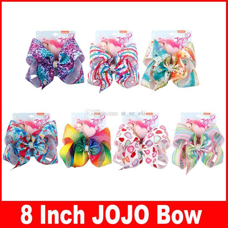 bebê 8inch arco-íris Jojo Arcos Hairpin para meninas Siwa Estilo Crianças bowknot arcos de cabelo acessórios de cabelo Natal Jojo aniversário Clipe presente cabelo