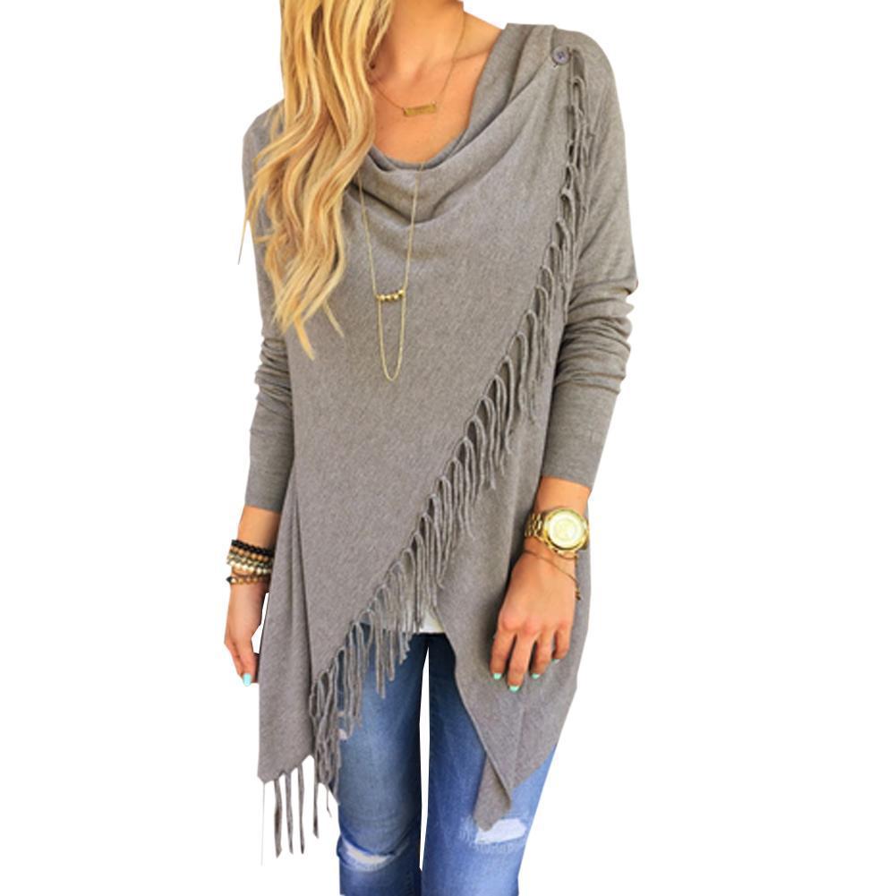 Atacado-Gray Tassel Sweater Mulheres manga comprida preta de malha pulôver soltas Casual Irregular Poncho Outwear drapeado Fringe 2015 Boho