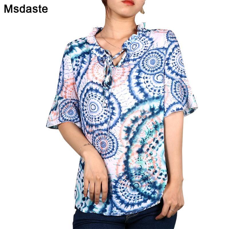 Шифон рубашка лета женщин с коротким рукавом Цветочные Женщины Топы Повседневная Полосатый Dots Гофрированные шеи Туники Blusas Женщина Блузки