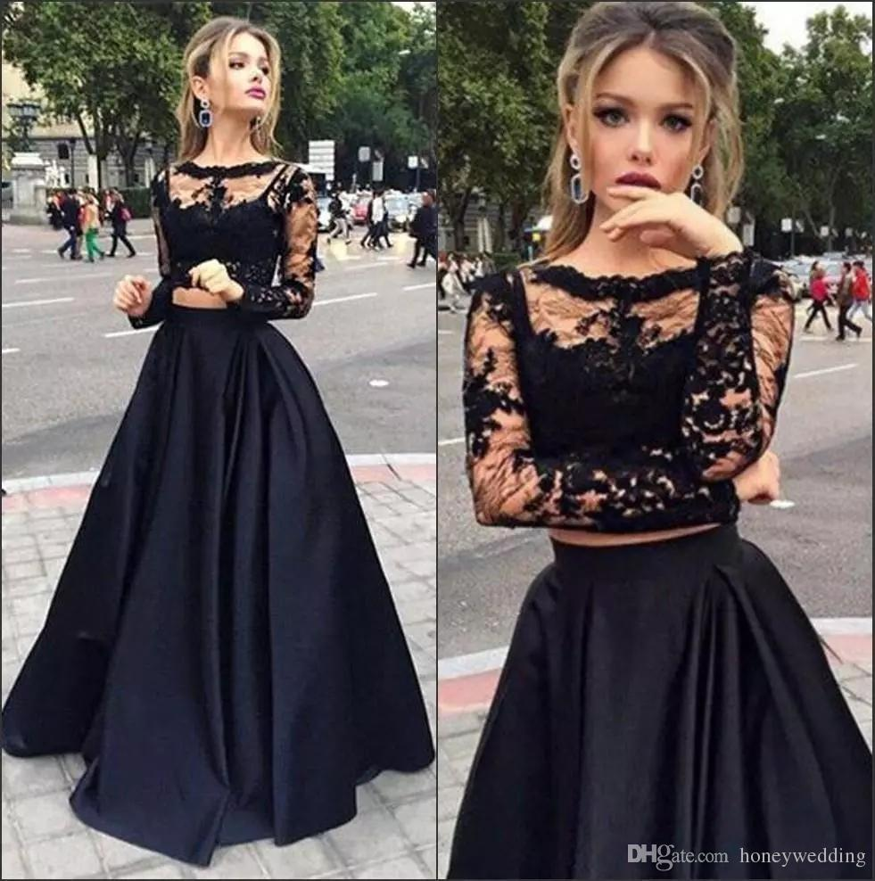 Hot Sale Black Cheap Two Pieces Prom Dresses Long Long Sleeve A Line Sexy lace Evening Dresses Formal Dresses Evening Wear