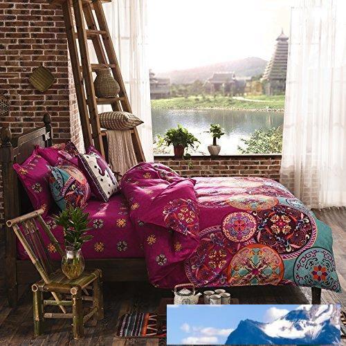 Estilo Nacional Recto Prune reversível edredon cobrir com travesseiro Sham Boho Mandala cama Set