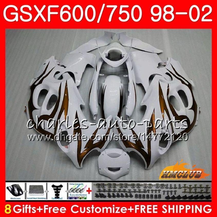 Corps pour Suzuki Katana GSXF 750 600 Gold Flammes GSXF600 98 99 00 01 02 2HC.52 GSX750F GSX600F GSXF750 1998 1999 2000 2001 2002 Kit de carénage