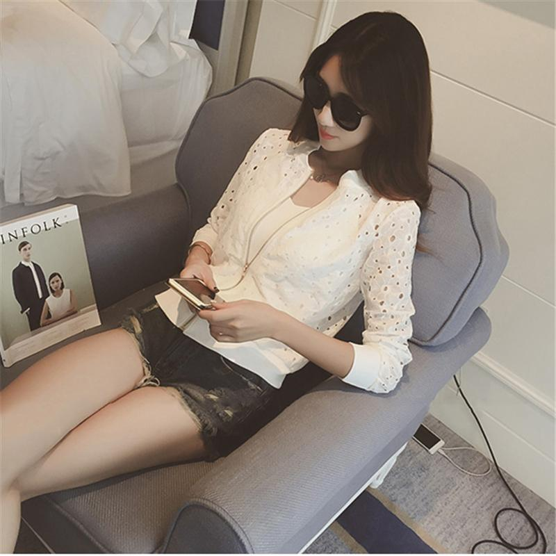 Dentelle Femme Vestes Printemps Eté New Casual Slime Femmes Fine Veste Blanc Noir Lady Short Outwear Plus La Taille