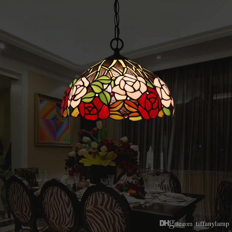 12 Inch Tiffany Luxo Retro luminárias vitral Lustres Luz Criativa Bar Café Restaurante Lanparas Colgantes