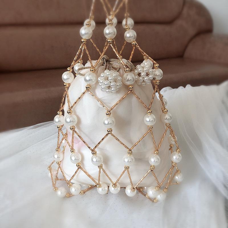 Borse scava fuori Pearl sera delle donne di lusso di piccola rilievo Pearl frizione borse e borsette signore tessuto Tracolla da festa di nozze
