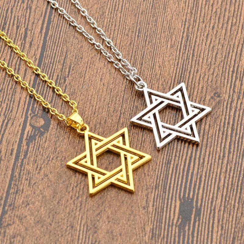 Collier pendentif étoile de David juif pendentif en or en argent avec déclaration de chaîne cadeaux de Saint Valentin