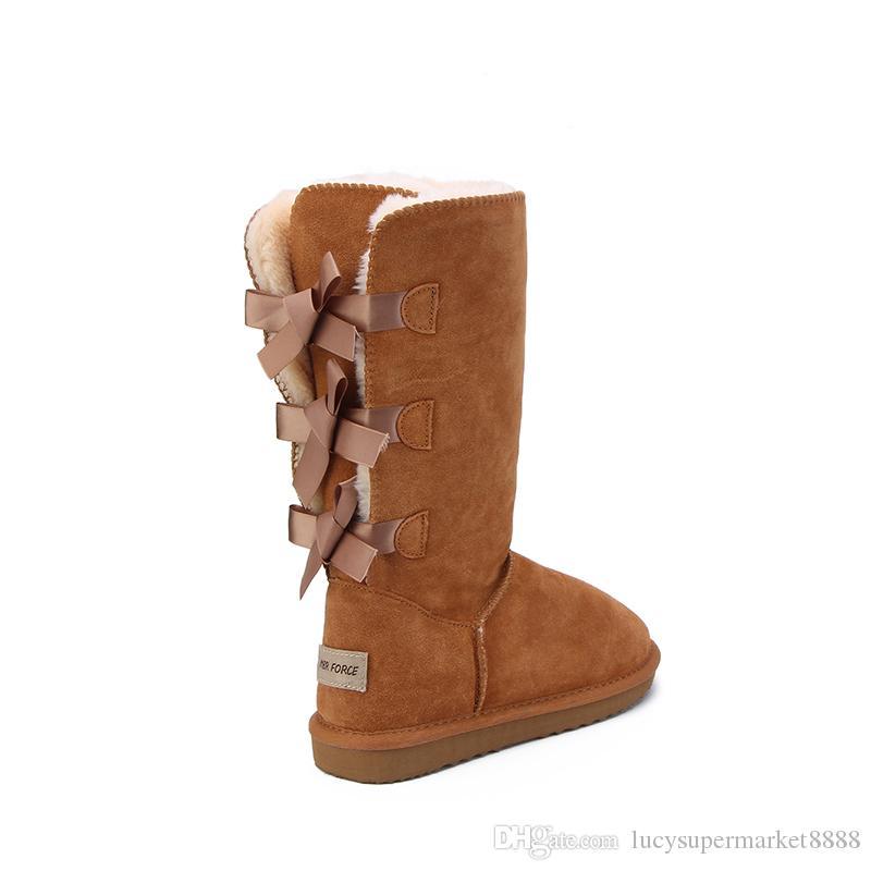 Weihnachten NEU klassische hohe Winterstiefel aus echtem Leder Bailey Bowknot Frauen bailey Bogen Schneeschuhe Schuhe Stiefel US5-10