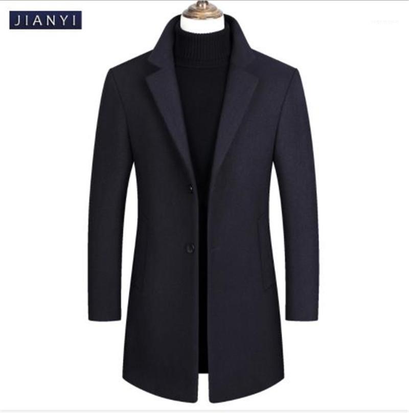Long Manteau Revers Cou Hommes Manteau Coupe-Vent Chaud Cachemire Unique Poitrine Manteaux Hommes Survêtement Casual Laine Tweed