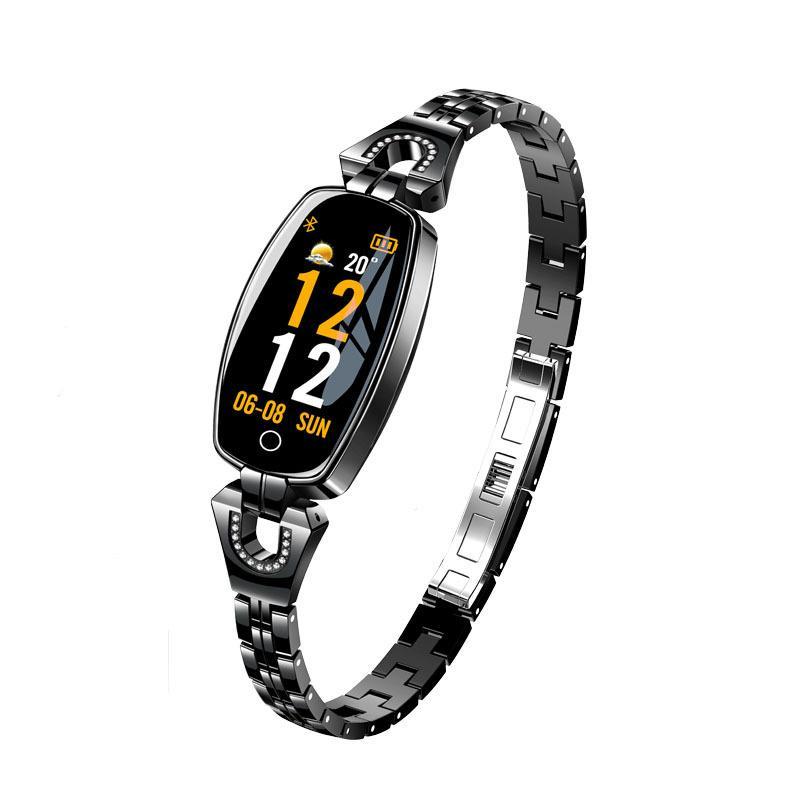 Regalo del día de San Valentín H8 Pulsera Bluetooth inteligente Salud de la mujer Pulsera de moda Reloj de la joyería Frecuencia cardíaca Monitor de presión arterial Paso deportivo