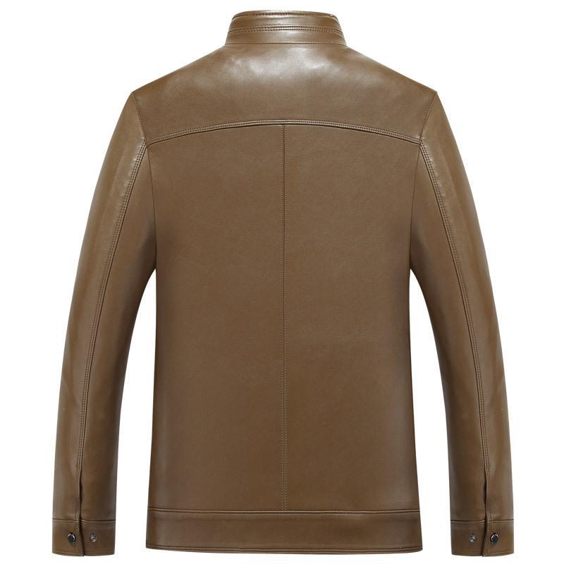 Homens Outono de meia-idade Primavera e Outono Jacket Collar 2018 New Style suporte Casual Médio Couro Pessoas HOMENS idade e idosos