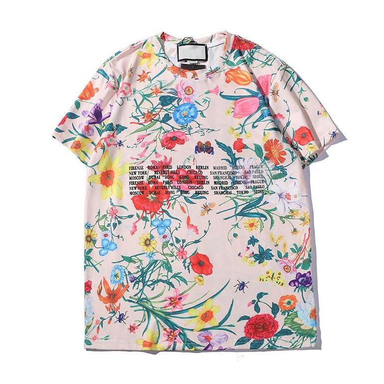 Fashion Mens Women T Shirt 20SS Summer Tshirts With Letters Breathable Short Sleeve Mens Tops With Flowers Tee Shirts High Quality