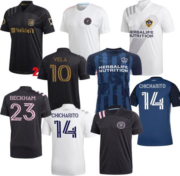 Neue 2020 2021 Carlos Vela Soccer Jerseys 2021 Home Los Angeles FC Inter Miami Beckham Black La Galaxy Chicharito White Football Hemden