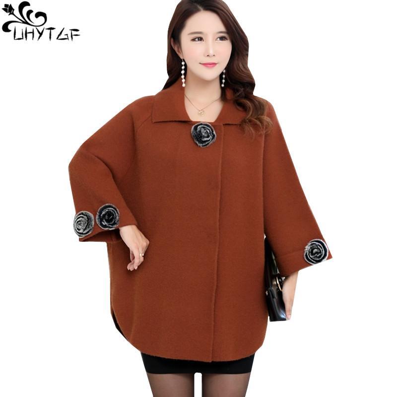 UHYTGF Cappotto in cashmere donna inverno coreano 2018 Plus size Autunno Moda Eleganti cappotti da donna Alta qualità soprattutto femminile 304