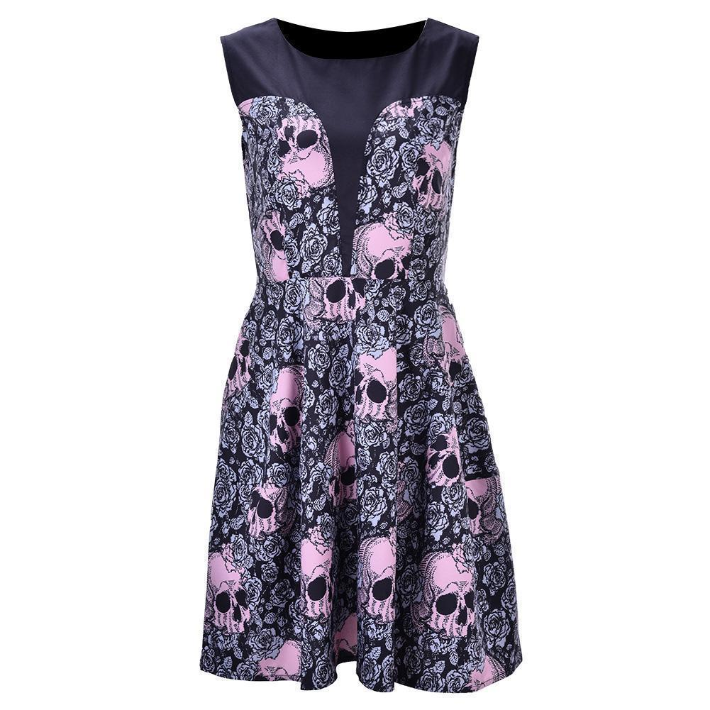 Amazing 2019 Retro Vintage Women Skull Rose Print Party Mini Dress O Neck Rockabilly Pin Up Swing 50s 60's Hepburn Dresses Plus Size 4XL