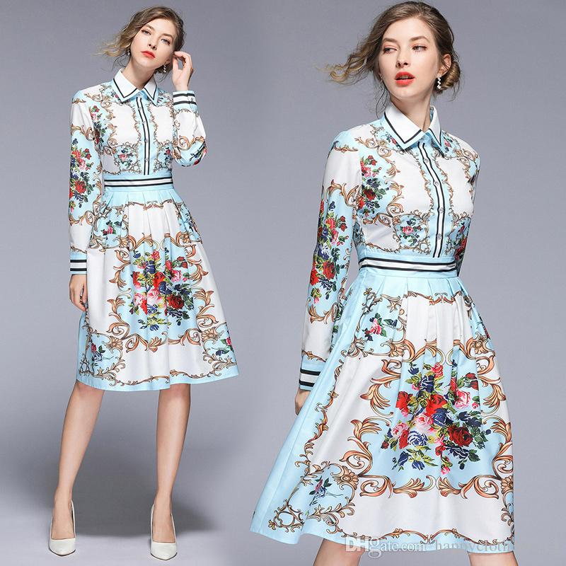 New Women's Runway Floral Print Button Front Lapel Neck Shirt Dresses Office Ladies Sexy Slim Long Sleeve Empire Waist Party Evening Dress