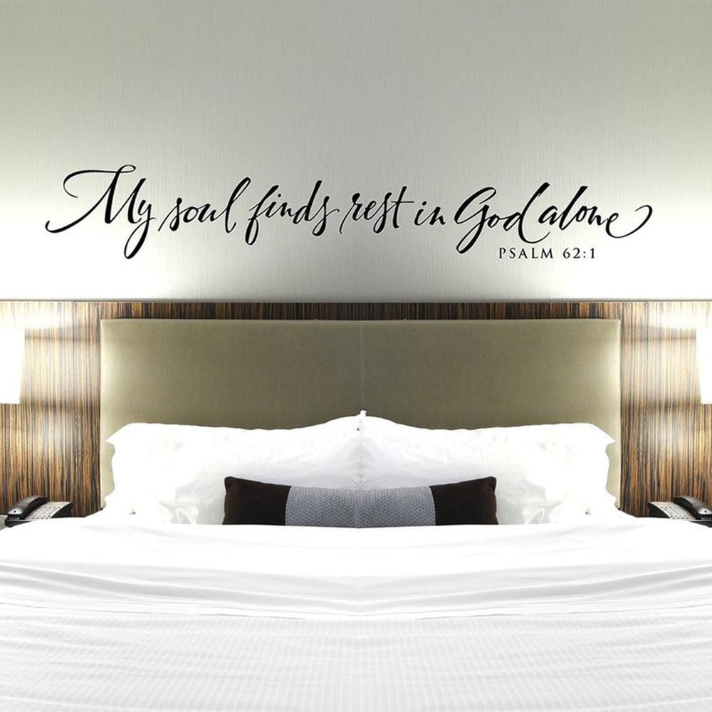 Christian Наклейка Моя душа находит покой в покое Бог Спальня Декор стены - Псалмы виниловый стикер стены Bible Verse Quote