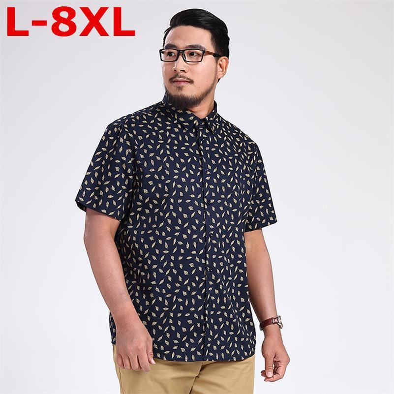 neue 9XL 8XL plus Größe Männer Shirts Marke Umlegekragen Slim Fit Men Homme beiläufiges Sommer-Geschäfts-Hemd Mens Short Sleeve