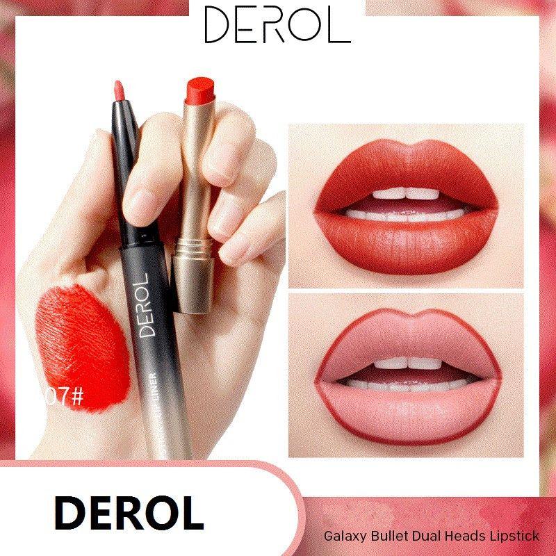 DEROL Double-end Lipstick Pencil Waterproof Long Lasting Tint Sexy Red Lip Velvet Matte Liner Pen Lipstick Set