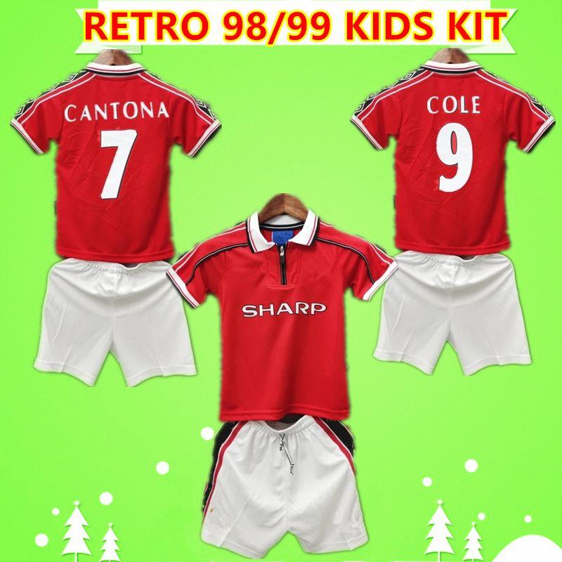 Manchester United  Kids Kit 1998 Retro Man Soccer Jersey 98 Vintage Classic boys suit Football Shirt United Beckham Cole Solskjaer UTD children set