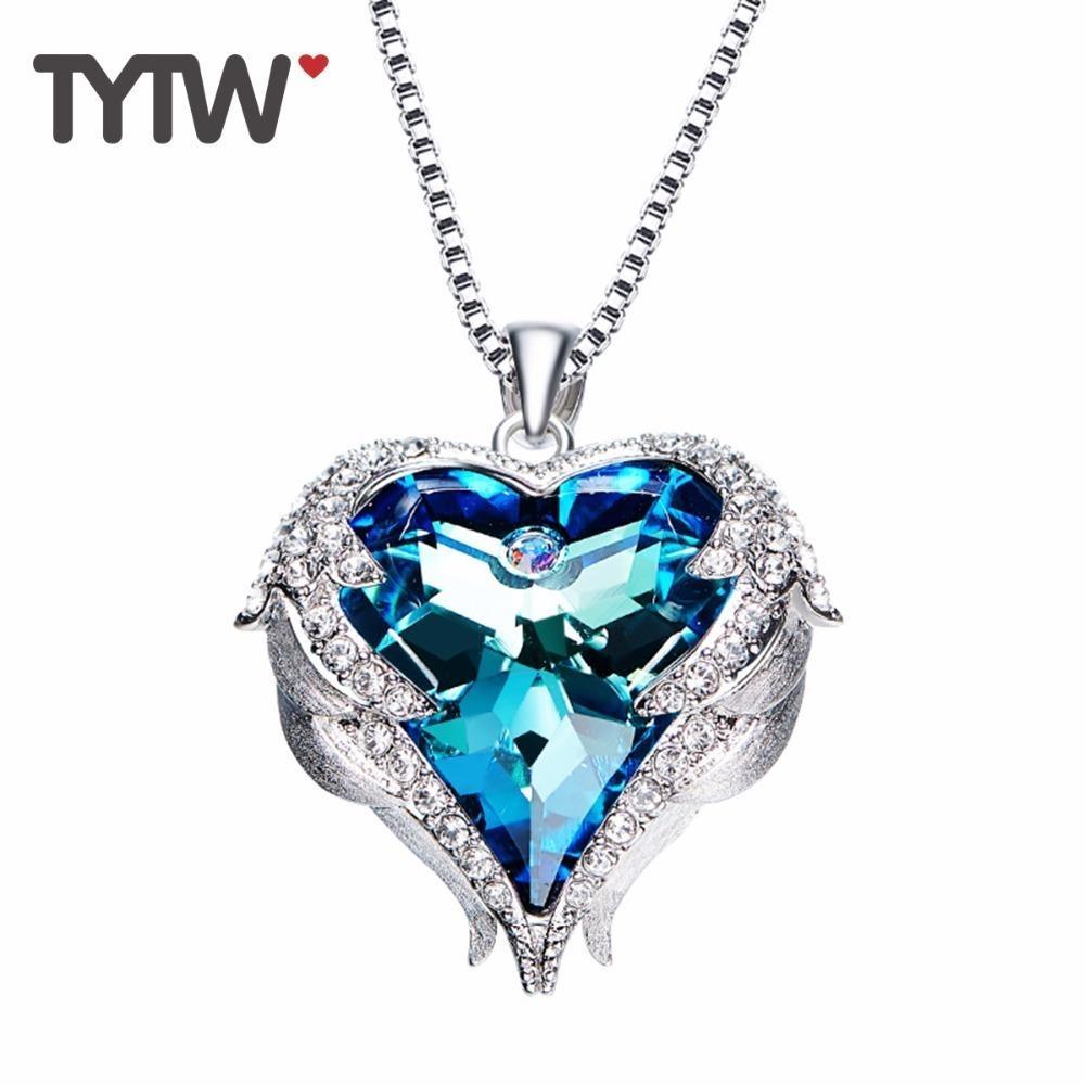 Tytw Kristalle aus österreichischen Halsketten Frauen Engel Herz Anhänger blau lila österreichischen Strass schicke Modeschmuck Geschenk Y19050901
