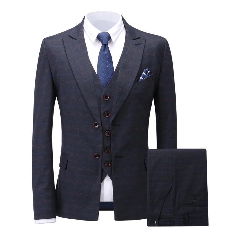 Новая мода Красивый темно-серый мужской костюм жениха костюм свадебные костюмы для мужчин Лучший Slim Fit Грум смокинги для человека (куртка + жилет + Pant)