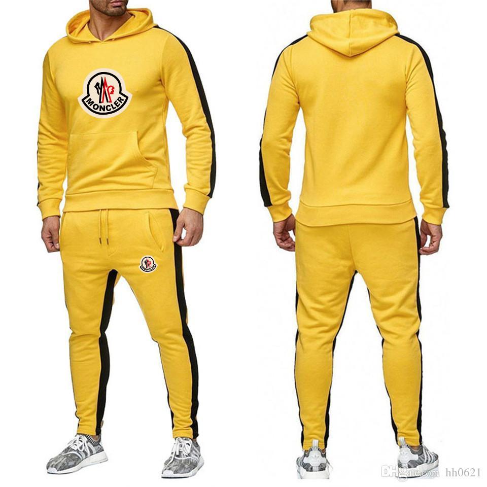 2019 Yeni Eşofman Erkekler Yeni Marka Sonbahar Kış Kapşonlu Sweatshirt + İpli Pantolon Erkek Çizgili Patchwork Kapüşonlular Suit-I boyutu: s-3XL