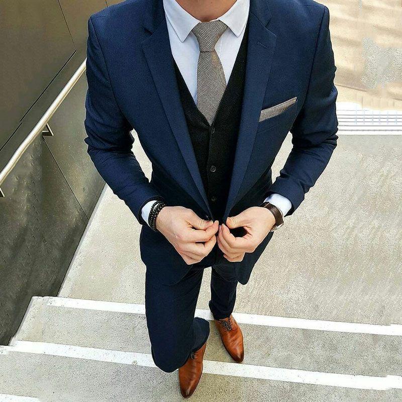 Custom Made Navy Blue Men Suits For Wedding Suits Slim Fit Formal Blazer Costume Groom Wear Prom Tuxedos Best Man 3Pieces Jacket+Pants+Vest