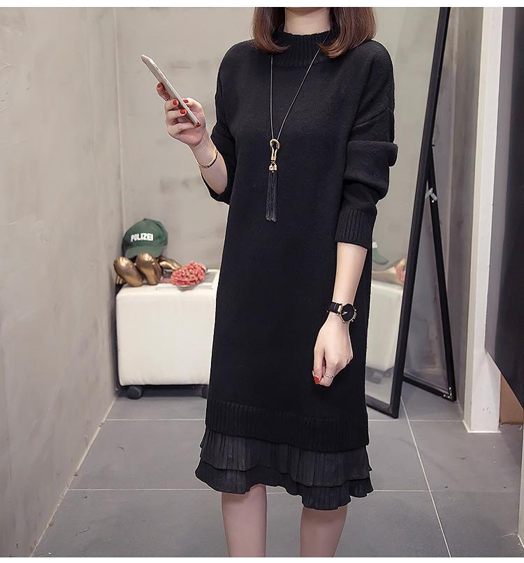 Maglione nero donne vestono colore solido delle donne o collo della rappezzatura del merletto Slim Vestito a maniche lunghe di lunghezza media Abiti casual