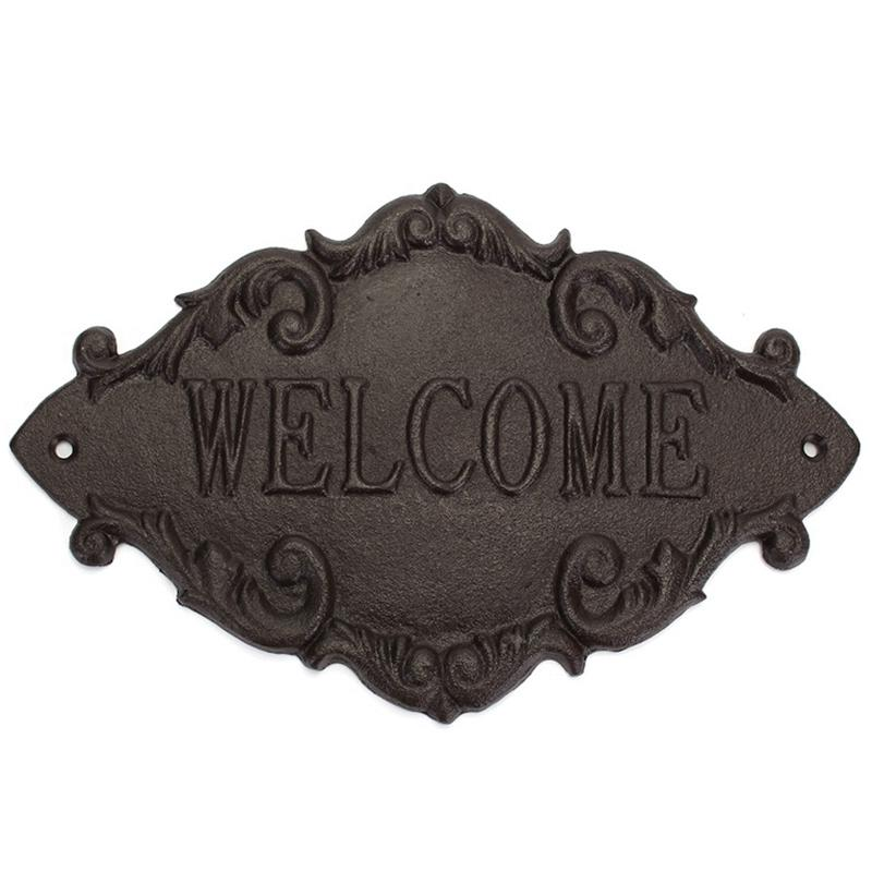 Welcome Decorative Plaques Creative Retro Shop Signs Cast Iron Country Cottage House Home Garden Wall Outdoor Hanging Decor
