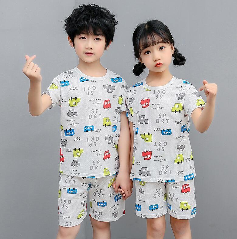 Çocuklar için Gri Pijama Erkek Yaz Çocuk Pijama Setleri Çocuk Kazak Kısa Kollu Pijama Erkek Pamuk Pijamas Pijama