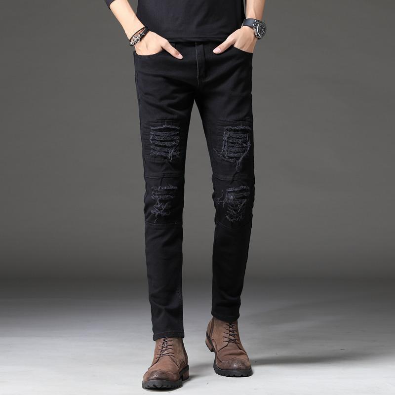 Homens de Moda de Nova Homens Preto Jeans coreana Hole-cut Magro Pés Calças Jeans Skinny Homens Juventude Médio cintura Pants Plus Size