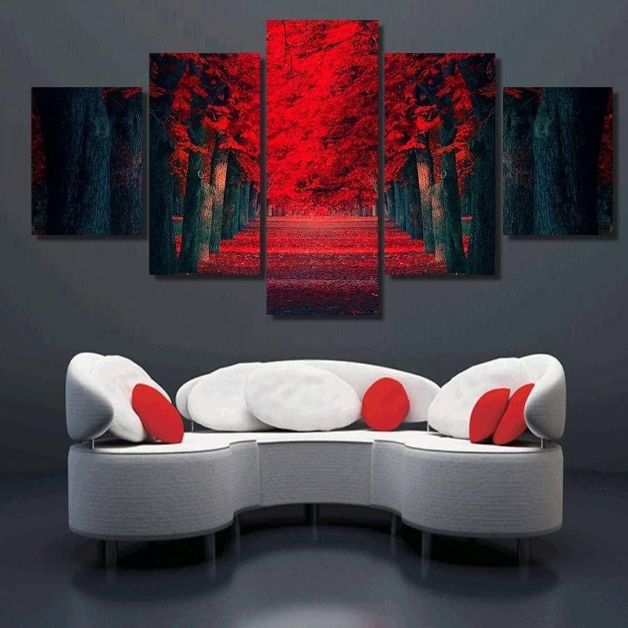 Salon Dekor için Tuval Wall Art Resim Sanatı Resim üzerinde 5 adet / set Çerçevesiz Kırmızı Orman Büyük Ağaçları Manzara Resim