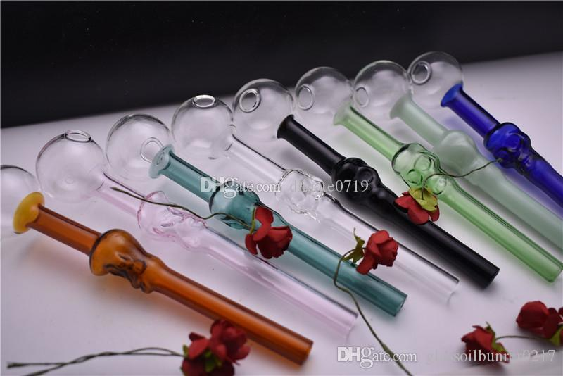 Yüksek kaliteli sigara boru 8 renk Pyrex Kafatası yağı brülör tüp yağ borusu İyi Yağ Brülör