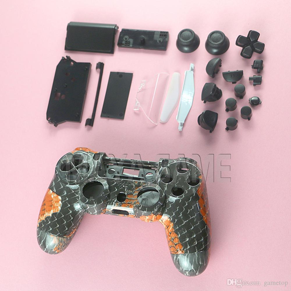 Череп гидро окунутый чехол мод комплект для PlayStation 4 PS4 контроллер черные кнопки