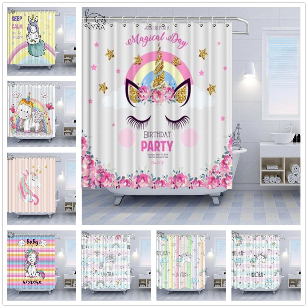 Cartoon Rainbow Unicorn Shower Curtains Birthday Party Cute Animal Bath Curtain Decoration Color Stripes Home Bathroom Bath Curtain Set