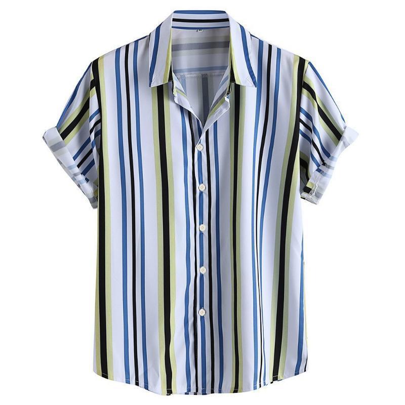 camisas a rayas de los hombres de los hombres de verano 2020 de la manga corta transpirable impresos Camisas Casual Streetwear sueltan Down cuello camisa hombre