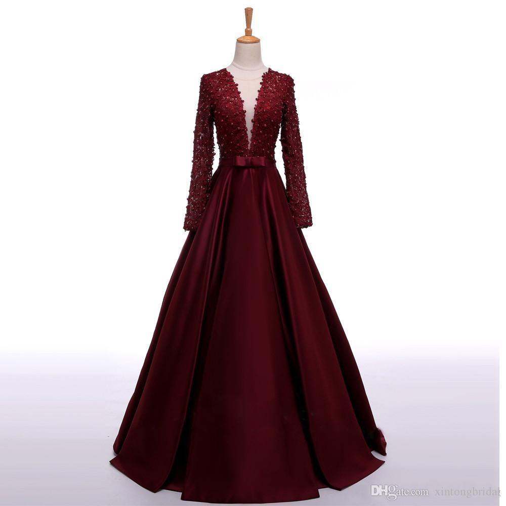 2019 Nueva llegada de encaje Top Borgoña Bow Perlas Vestidos de fiesta Sheer Back Vintage Prom Vestidos Envío rápido baratos de manga larga vestidos de noche